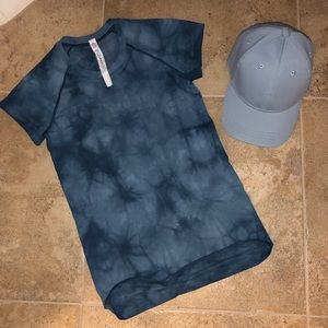 Lululemon Gorgeous Blue Tye-Dye S/S Shirt 4 & Hat